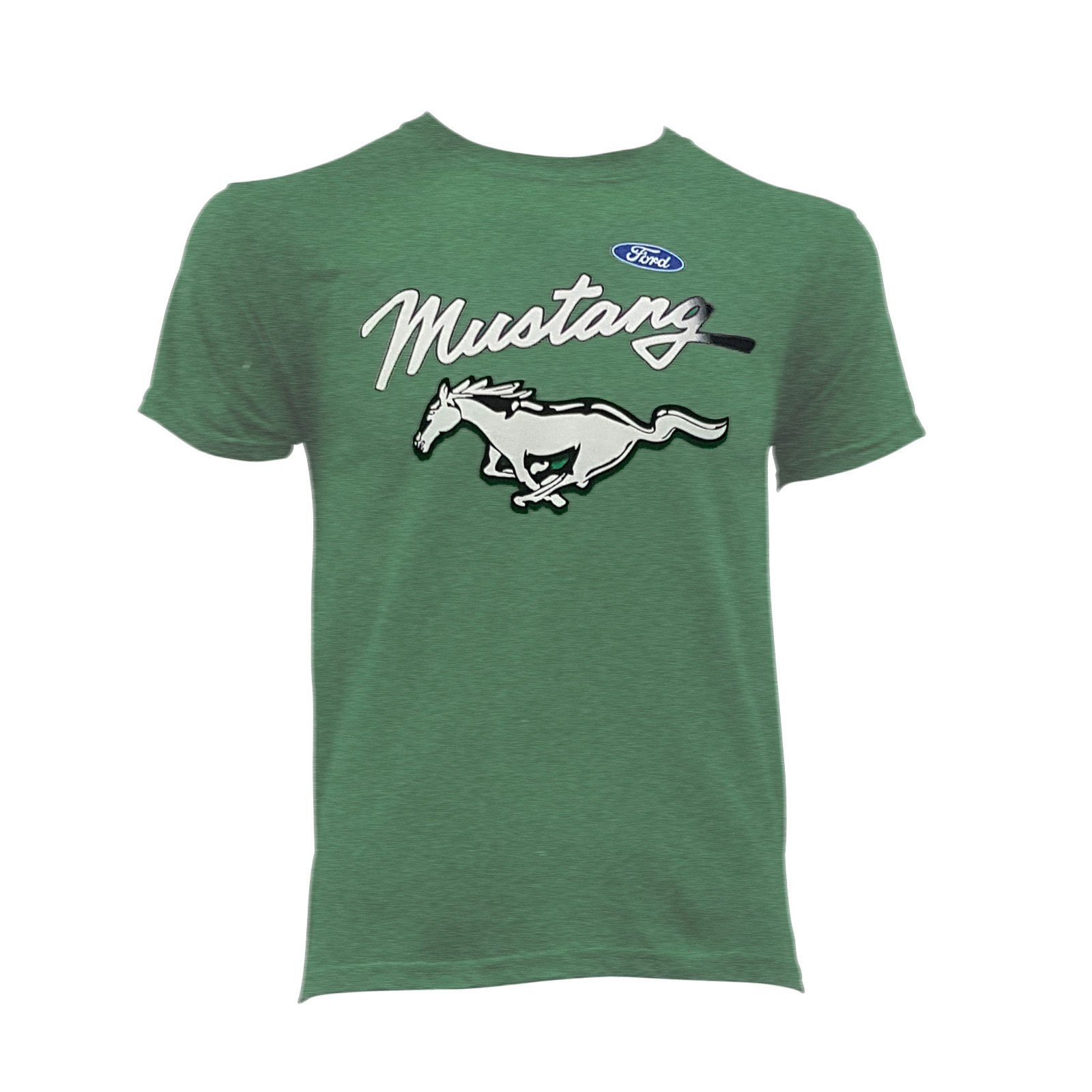 Ladies Size Ford Mustang Design T Shirt Tee Shirt Pony Tri: FORD MUSTANG RUNNING HORSE T-SHIRT MILITARY GREEN